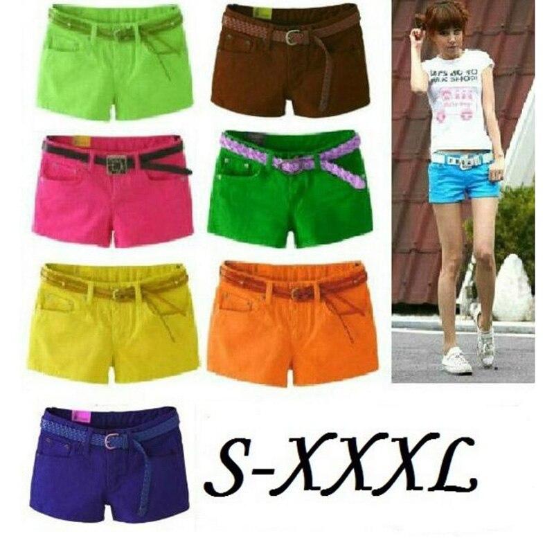 Summer Denim Shorts Slim Fit Candy Color Short Pants Plus Size XXXL Short Jeans Women Shorts Denim