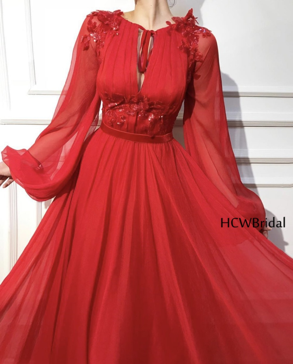 2019 New Arabic   Evening     Dress   Long Sleeve Red Chiffon A Line Appliques Formal Occasion   Dresses   Custom Made Wedding Party Gowns