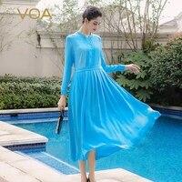VOA осень с длинным рукавом тяжелый шелк краткое тонкий платье рубашка простой сплошной середины талии плюс Размеры Повседневное Для женщин