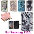Животные Сова Флип Кожаный Tablet PC Case для Samsung GALAXY Tab 3 Lite T110 Крышка Shell Защитная пленка Мешок Черный и Розовый внутри