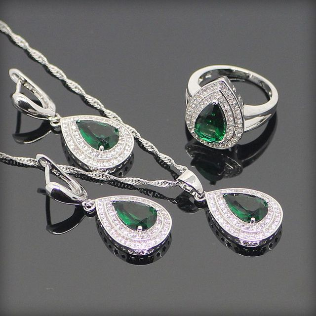 Criado verde Esmeralda Branco Topaz 925 Sterling Silver Jóias Conjuntos Para Mulheres Sliver Pingente/Colar/Brincos/Anéis Caixa livre