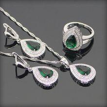 Verde Esmeralda Topacio Blanco 925 Plata de La Joyería Para Las Mujeres Astilla Colgante/Collar/Pendientes/Anillos de Envío Caja de regalo