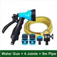 6 Spray Patterns Water Gun Garden Watering Car Washing Kits (ABS Plastic High Pressure Water Gun With 4 Joints and 5m Pipe)