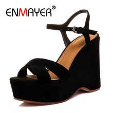 цена на ENMAYER Casual  Buckle Strap Shoes Woman  High Heels Sandals Women  Open Toe Heels  High Heels  Tacos Mujer  Size 34-40 ZYL2531