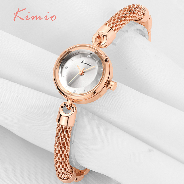 KIMIO Ladies Simple Small Dial Mesh Bracelet Band Woman Watches 2017 Brand Luxury Watch Women Gold Wrist Watches For Women Clock