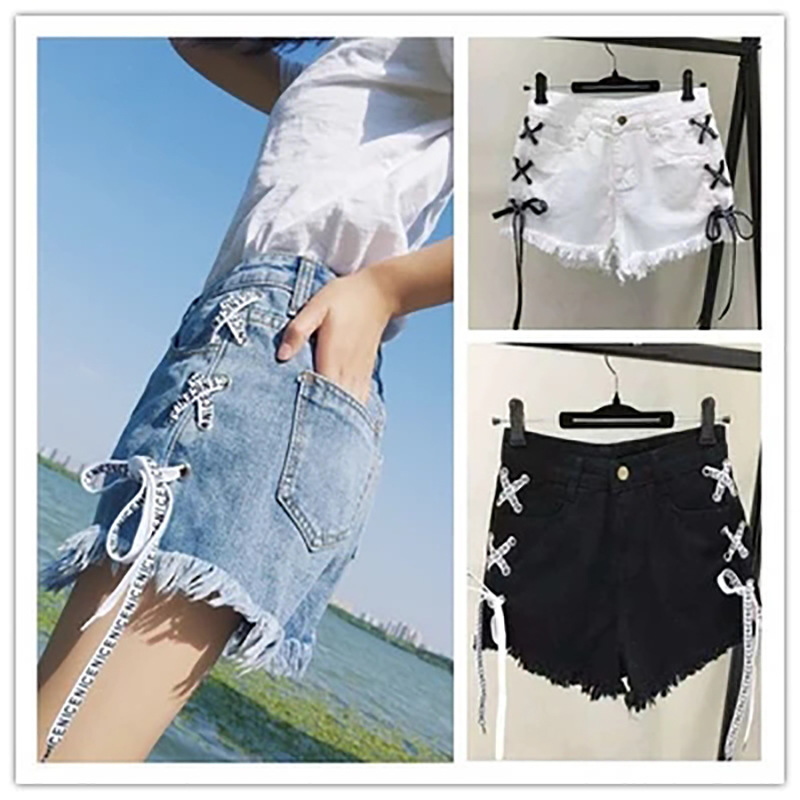 Denim   shorts   female summer new fashion string rope wild slim slimming female wide leg trend   shorts