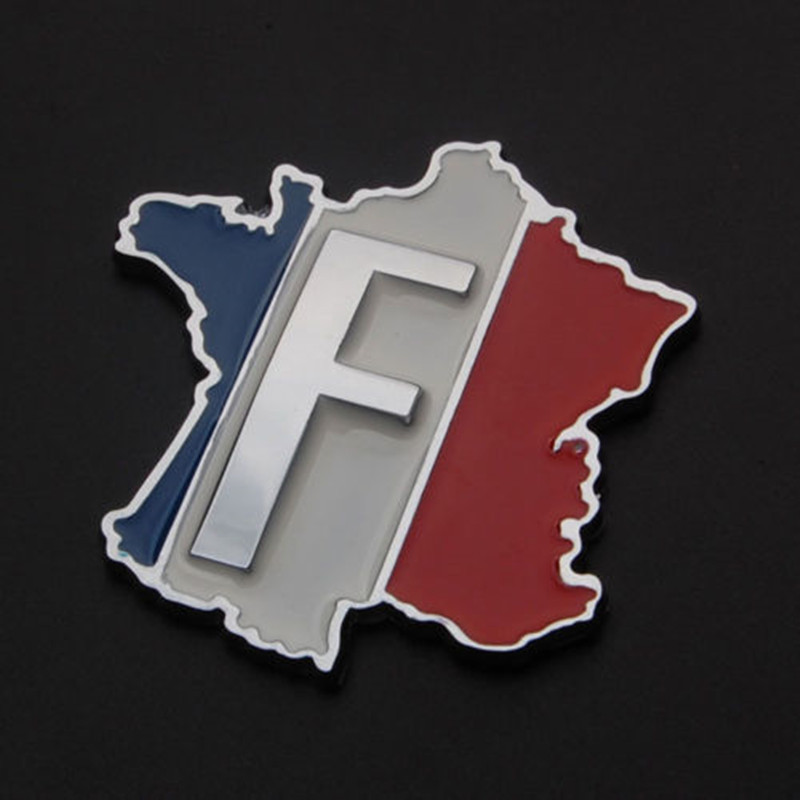 BBQ@FUKA Aluminum CAR 3D EMBLEM BADGE DECAL FRANCE French Map F Logo Sticker Fit For Peugeot 207 307 308 408 608 Citroen C4 C5