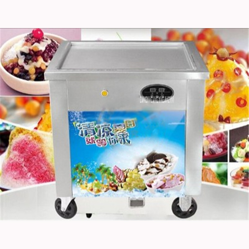 Shpping By Sea HotSelling Commercial Single Pan Stir Fried Ice Cream Maker/Snack Machine Cold Ice Cream Maker 220V/50Hz 12-15L/H