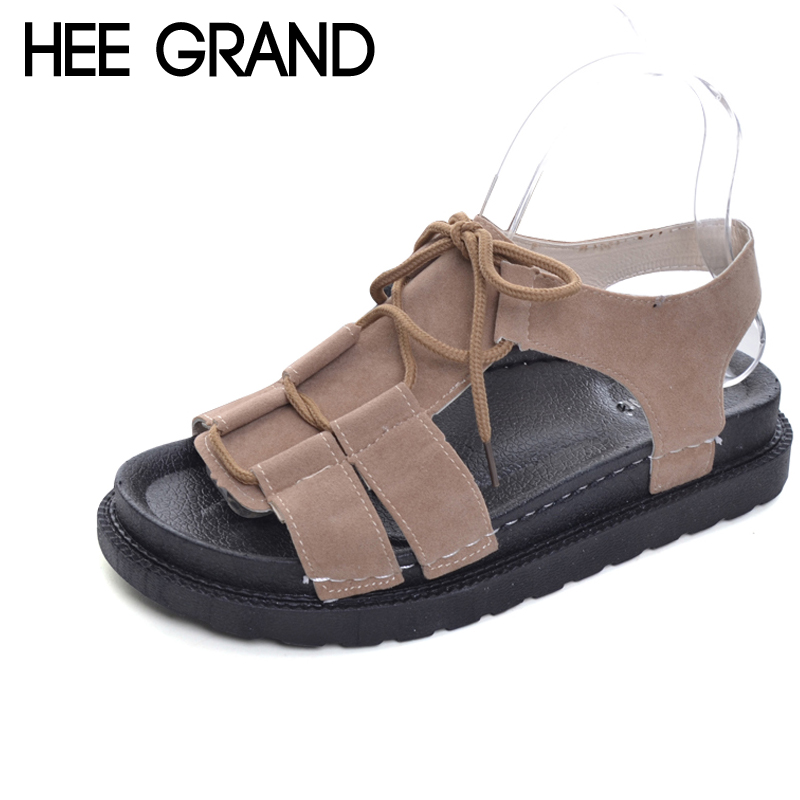 HEE GRAND Lace-Up Sandals Summer Fishermen Flats Platform Shoes Woman Slip On Retro Roman shoes creepers Size 35-39 XWZ4413 hee grand lace up gladiator sandals 2017 summer platform flats shoes woman casual creepers fashion beach women shoes xwz4085