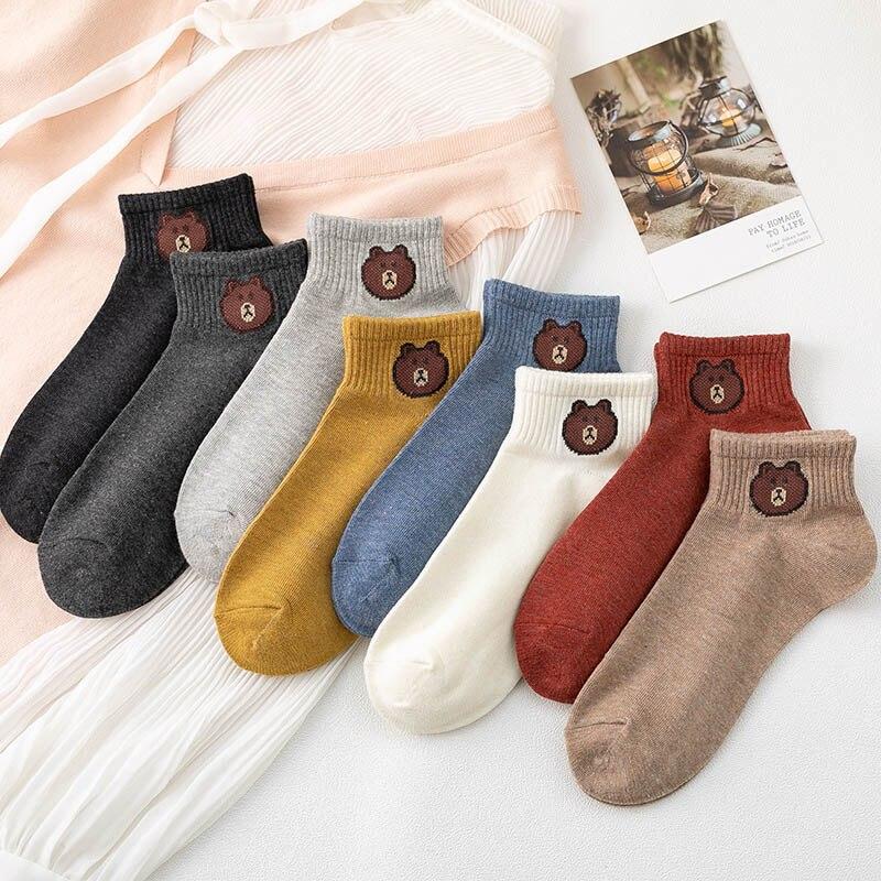 Cartoon Bear Printed Harajuku Short Woman Socks Comfortable Cotton Female Cute Sock Ankle Funny Socks Famales Korean Style Women
