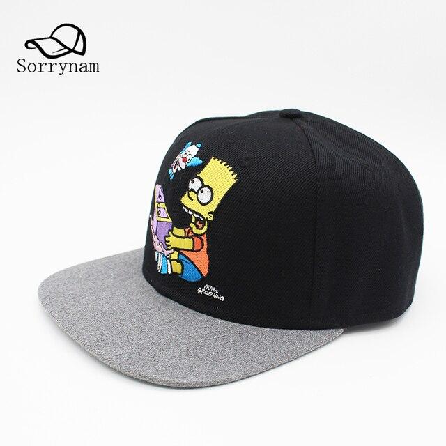 2017 New Brand Fashion Baseball Cap Bart Cartoon Simpson Cotton Casual Hats  Hip Hop Snapback Summer 9c99082d85c