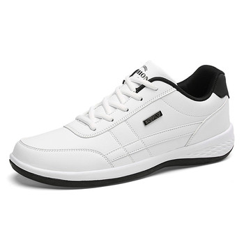 2020 New Fashion Men Sneakers for Men Casual Shoes Breathable Lace up Mens Casual Shoes Spring Leather Shoes Men chaussure homme - White, 13