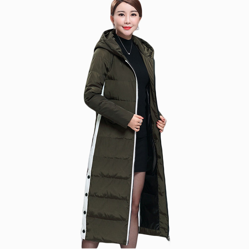 2017 WINTER WOMEN JACKET X-LONG THICKEN WARM SLIM PARKA HOODED COTTON LINER OVERCOAT HIGH QUALITY HOT SALE ZL734 women lady thicken warm winter coat hood parka overcoat long outwear jacket