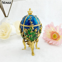 New Arrival New Year Royal Imperial Russian Egg Enmed Jewelry Tinket Box Figurine Faberage Egg Metal