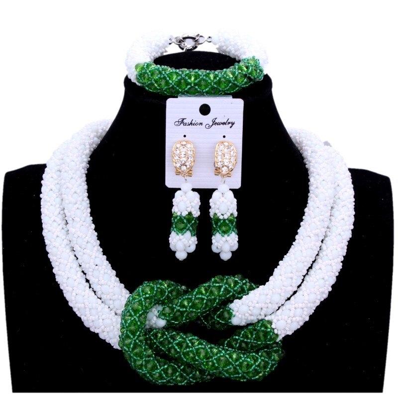 Fine Jewelry Sets For Women White Green African Beads Nigerian Wedding Jewelry Sets Cross Bridal Jewellry Necklace Set 2018 splendid nigerian wedding beads vintage classic jewellry set choker necklace set african women bridal jewelry set