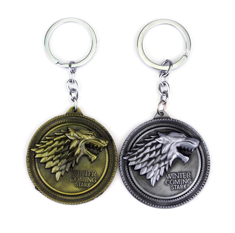 HBO لعبة من عروش المفاتيح البيت ستارك الشتاء قادم المعادن قلادة كيرينغ مفتاح سلسلة حلقة هدية لمحبي الأزياء والمجوهرات
