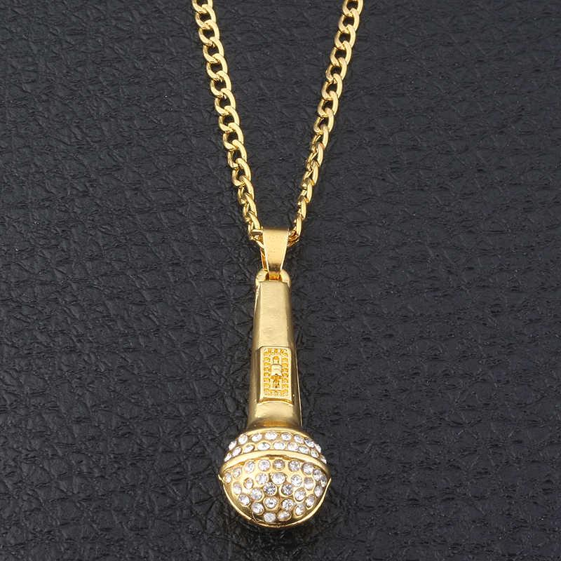 SG HIP Hop złoty kolor Ice Out Bling muzyka stereoskopowy mikrofon wisiorki naszyjniki dla kobiet mężczyzn biżuteria