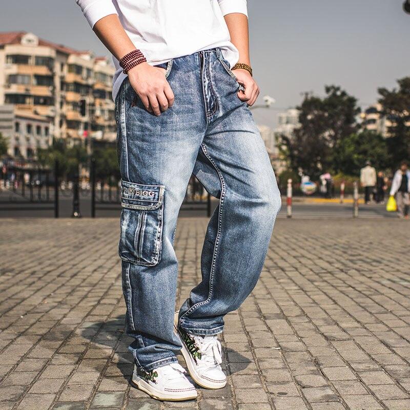 Multi Cargo Big Pocket Wide Leg Loose Jeans For Men Hip Hop Baggy Jeans Homme Men's Denim Harem Trousers Plus Size 42 44 46 hot new large size jeans fashion loose jeans hip hop casual jeans wide leg jeans