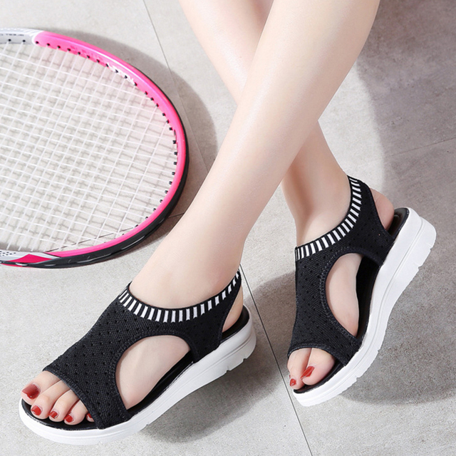 MLANXEUE Fashion Women Sandals For 2018 Breathable Comfort Shopping Ladies Walking Shoes Summer Platform Black Sandal Shoes