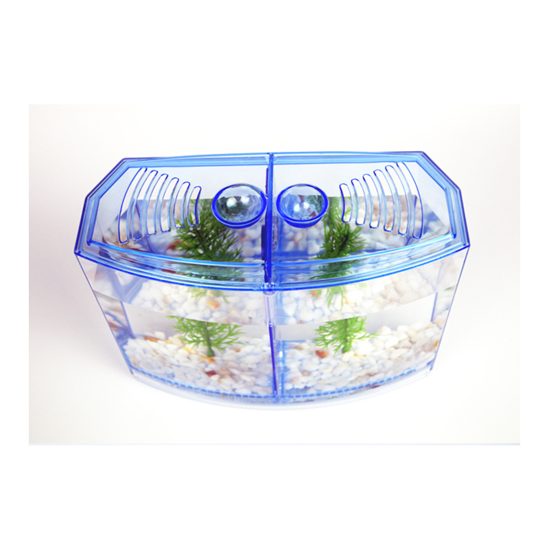 LED Light Mini aquarium Acrylic Single Two Splits Betta Fish Tank two part Bow Fighting Isolation Hatch Breed Box in Aquariums Tanks from Home Garden