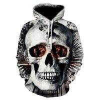 Yeni tasarım kafatası baskı Erkek/Kadın Hoodies Komik 3D Tişörtü Bahar Sonbahar Kazak Kapüşonlu Eşofman Moda 2018 sıcak Hoodie