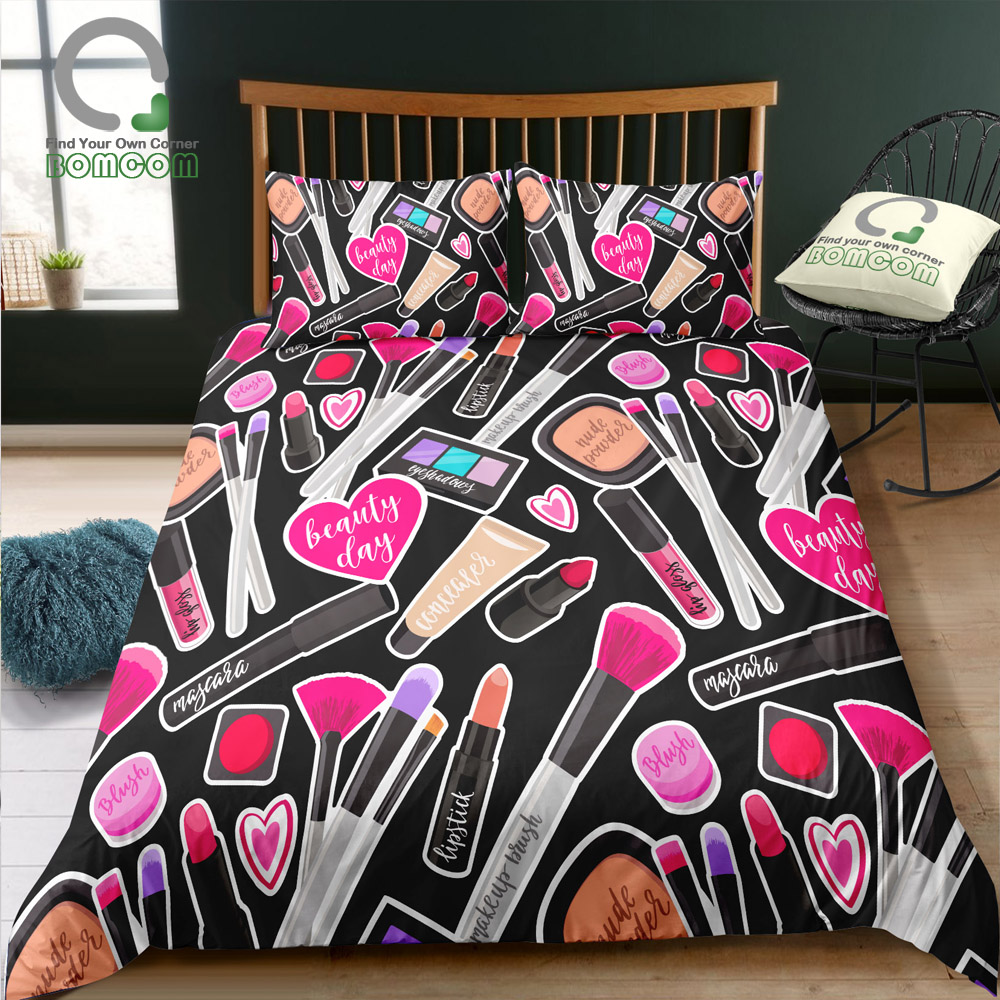 BOMCOM 3D Digital Printing Duvet cover set makeup brush lipstick black cosmatic Bedding Set 100 Microfiber