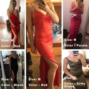 Image 4 - Forefair Sexy Maxi Satin Dress Summer Women Slit V Neck High Waist Off Shoulder Black Red Silk Slip Dress Party Club