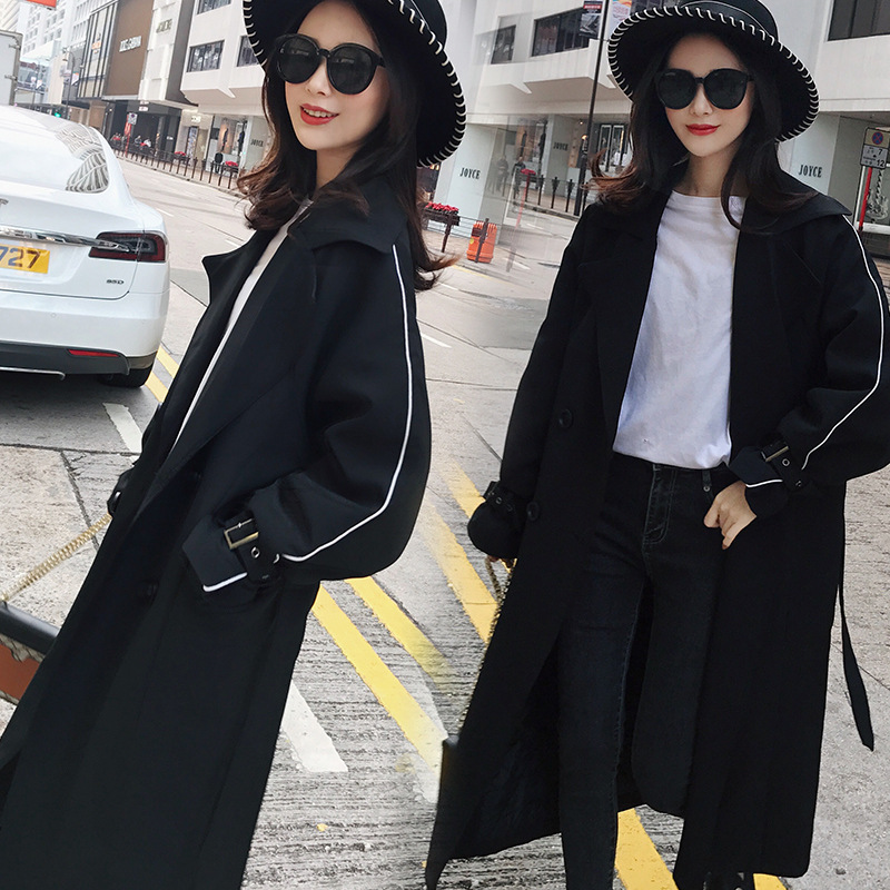 Women Long Trench Coats Oversize LOOSE Vintage Trench Coat Double Breasted Trench with Waist Tie Female Vintage BLACK Long Coats