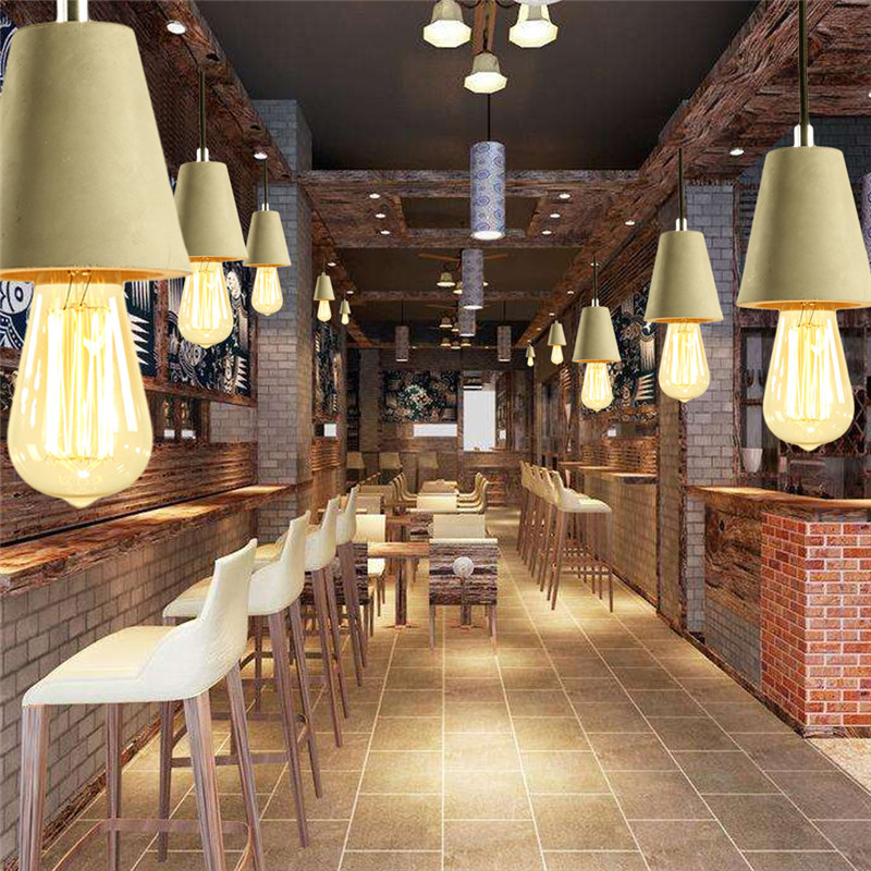 Rustic Vintage Industrial Cement LED Pendant Lights Cafe Restaurant Bar Counter Aisle Retro Hanging Light E27 Socket Cement Lamp rustic metal cage loft industrial pendant lamp cafe bar retro vintage light hanging lights fixtures lampara suspension luminaire