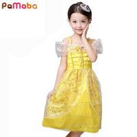 Girl Dress Princess Belle Party Dress Character Sleeveless Lace Cosplay Costume Cute Kids Performance Clothing