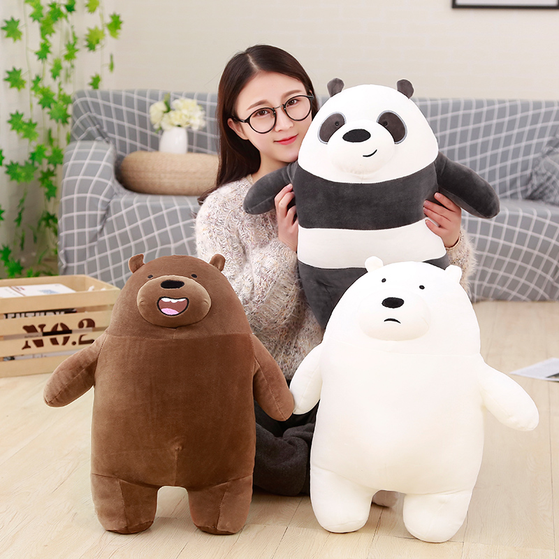 1pc 50cm Cartoon Cute We Bare Bears Plush Toy Doll Stuffed Grizzly Gray White Bear Panda Kawaii Birthday Gift for Kids Children 1pc 16cm mini kawaii animal plush toy cute rabbit owl raccoon panda chicken dolls with foam partical kids gift wedding dolls