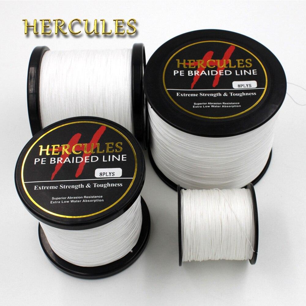 Hercules Fishing Line 100M 300M 500M 1000M 1500M 2000M 10lb-200lb PE White braid Fishing Line 8 Strands Ocean Beach Fishing