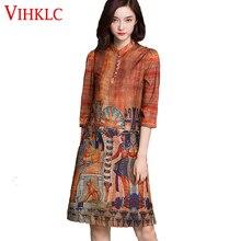 VIHKLC, новое модное повседневное летнее платье, винтажные вечерние платья с принтом, элегантное тонкое женское платье, плюс размер, женская одежда AY37
