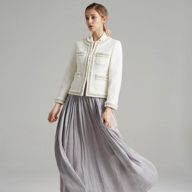 Mode Solide Perles Classique Courte Luxe Qualité White Xs De Tweed Longues Manteau À Supérieure xl Survêtement Veste Fit Femelle Femmes Manches Slim qwYYX6x8