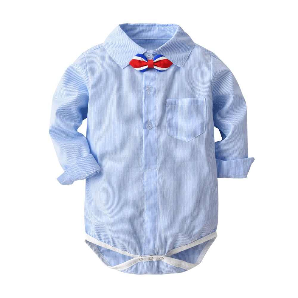 446a3538 Gentleman Baby Boy Clothing Strip Infant Shirt Blouse Newborn Wedding Wear  Baby Rompers Long Sleeve Overalls