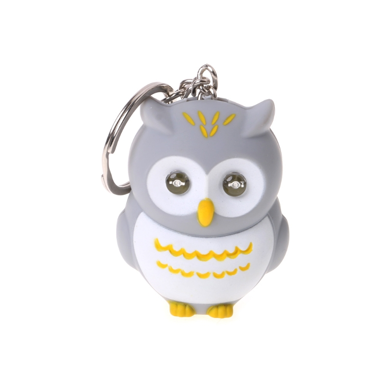Funny LED Light 3D Cartoon Owl Keyring Sound Hooting Chain Key Gift Kid Toys