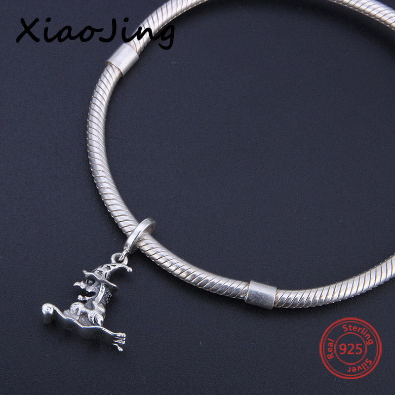 charms silver 925 original Antique Witch enchante shape charms fit pandora Bracelets Pendant Bead making Jewelry for women Gift in Beads from Jewelry Accessories