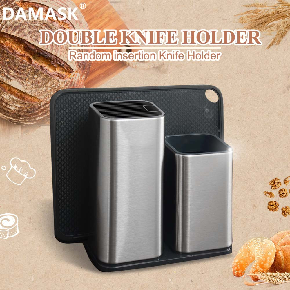 DAMASK Knife Holder Multifunctional Kitchen Knife Stand Stainless Steel+PP High Quality Cooking Tool Holder Spade Knives Holder