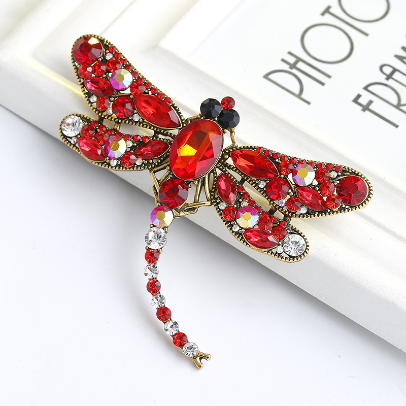 Vintage Crystal Dragonfly Brooches for Women Brooch Pins Metal Scarf Pins Christmas Gift Banquet Weddings Accessories