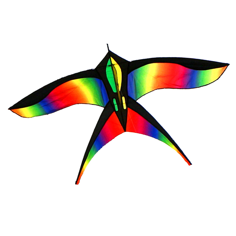 Livraison gratuite arc-en-ciel oiseau cerf-volant 10 pcs/lot avec poignée ligne ripstop nylon tissu cerf-volant pour enfants weifang cerf-volant usine chaussette