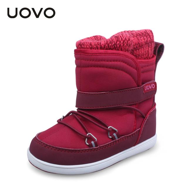 UOVO diseñador de la marca botas de niño niña otoño invierno niños pequeños botas a prueba de agua zapatos ocasionales del deporte para las niñas zapatos rojos