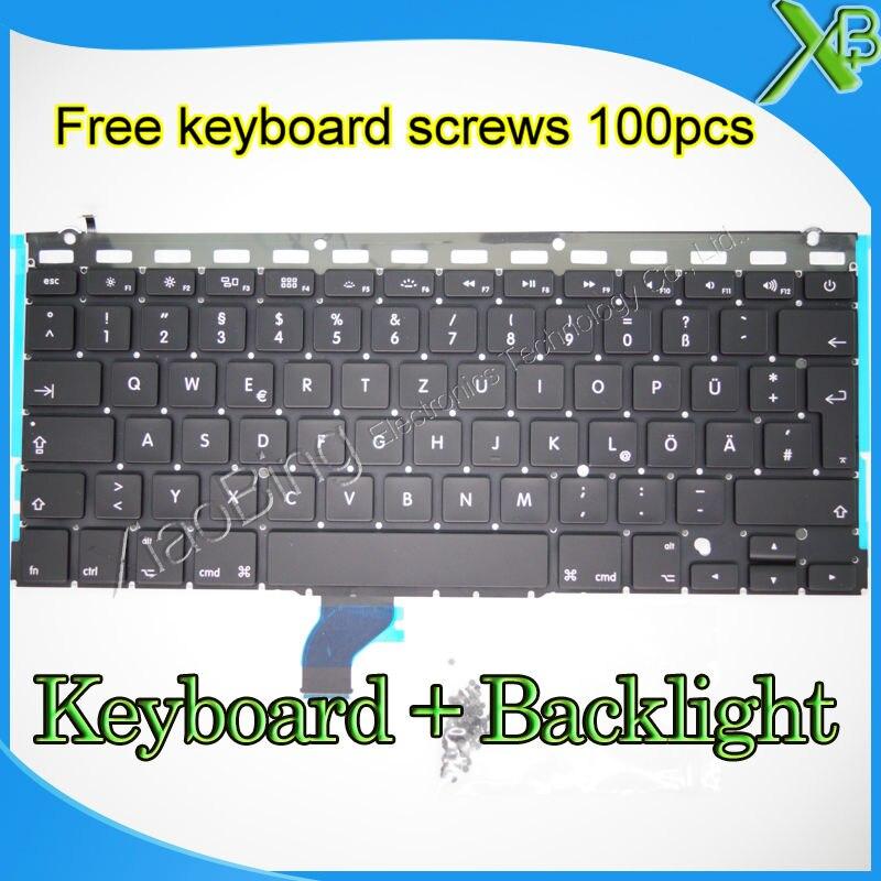 Brand New Alemão Deutsch Tastatur QWERTZ Teclado + Backlight + parafusos Para MacBook Pro Retina 13.3