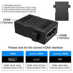 Image 2 - HDMI ל HDMI כבל מתאם ממיר Extender עם אוזן וו מחבר נקבה לנקבה 1080P עבור HDTV HDCP DVD מקרן נייד