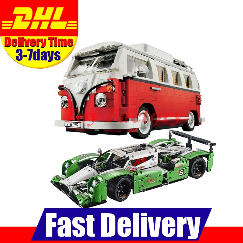 Lepin 20003 24 hours Race Car +LEPIN 21001 T1 Camper Van Technic Series Building Blocks Bricks Toy Gifts Clone 42039 10220 telecool led light building blocks toy only light set for creator series the t1 camper van model lepin 21001 and brand 10220