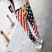 Abetteric Womens Dance Loose Hip Hop USA Flag Printing Haren Long Pants