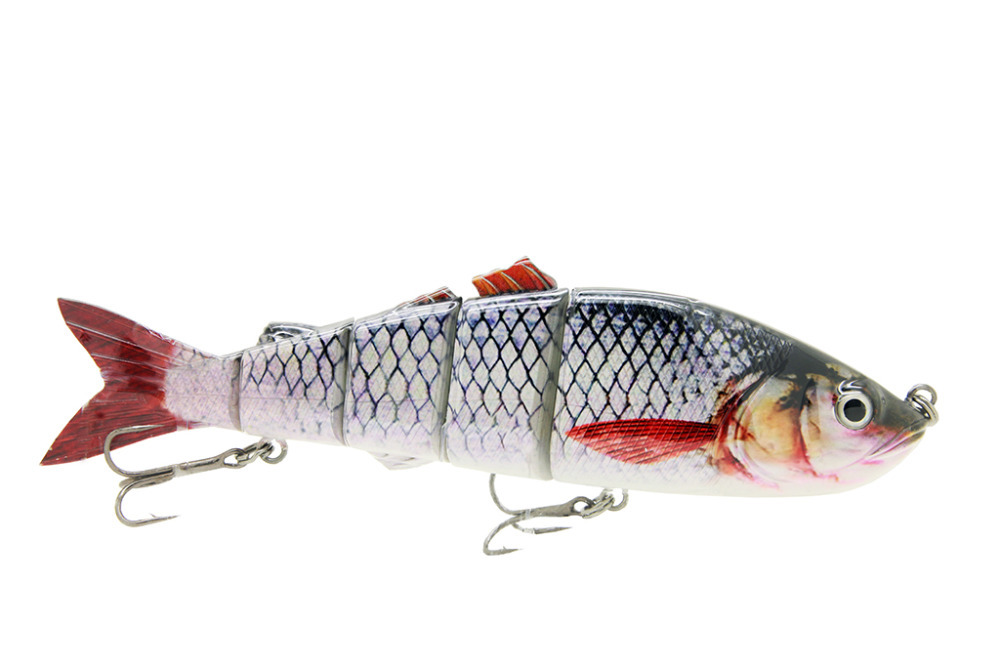 "10"" Life Like Swimbait Fishing Bait Multi Jointed Lures Pike Musky Ocean Boat Fishing Artificial Bait Lure C White"