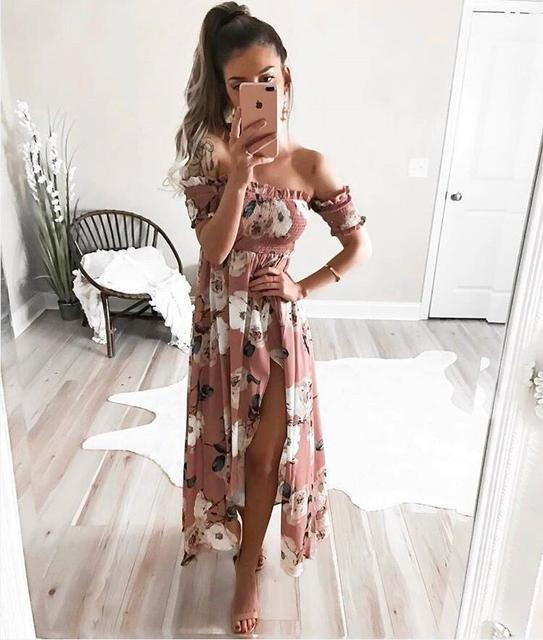 Cssayavi boho стиль длинные dress женщины с плеча 2017 пляж летние платья цветочный печати vintage шифон maxi dress