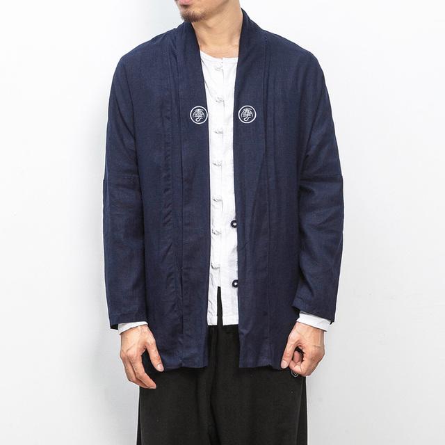 Moda hombre cardigan kimono 2017 nueva primavera otoño estilo de china masculina trench coat loose high street hiphop zanja outwear JK13