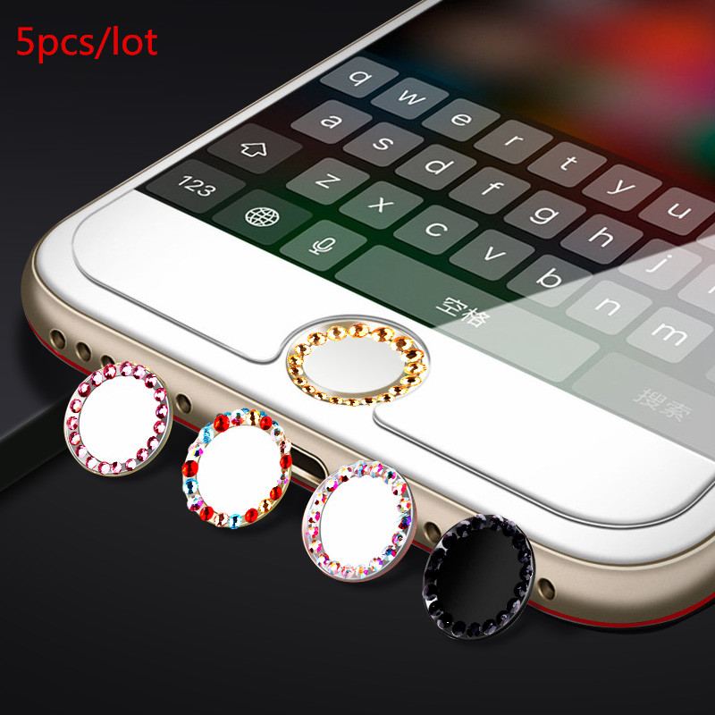 5Pcs Crystal Bling Rhinestone Diamond Home Button Sticker for Touch ID for iphone 5 5S 6 6S 7 8 plus case Key paster