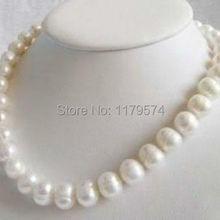 """Ювелирные изделия из натурального жемчуга,, красивые ювелирные изделия! Горячая Новая мода 8-9 мм Белый Пресноводный Культивированный жемчуг ожерелье 1"""" женщина"""